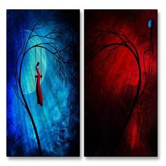 'Heartache and Poetry 36... Fire and Ice' by Jaime Zatloukal Best 2 Piece Graphic Art Plaque Set
