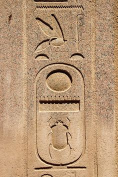 Cartouche of Thutmose III Sunken-relief depicts the royal cartouche of the pharaoh Thutmose III (Menkheperra) at Karnak Temple Complex. Ancient Egyptian Artifacts, Egyptian Symbols, Ancient Symbols, Ancient Art, Ancient History, Egyptian Hieroglyphs, Mayan Symbols, Viking Symbols, Viking Runes