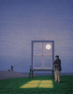 Quint Buchholz - Wer das Mondlicht faengt - If You Catch Moonlight - 2001 Illustrations, Illustration Art, Arte Peculiar, Gta San Andreas, Es Der Clown, Rene Magritte, Magic Realism, Surreal Art, Les Oeuvres