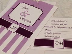 Purple and White Striped Wedding Invitation with RSVP - Custom by DezynsByTeri on Etsy https://www.etsy.com/listing/122172672/purple-and-white-striped-wedding