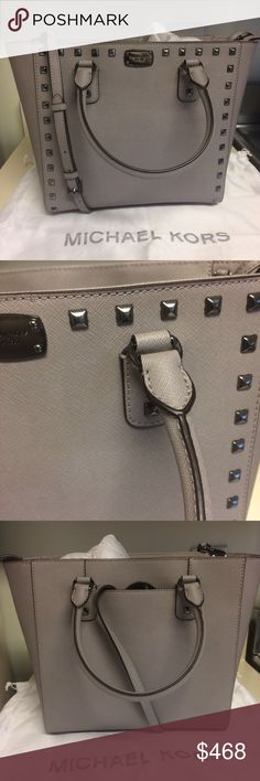 """Michael Kors - LE Gunmetal Studded Saffiano Bag Michael Kors limited edition pearl grey Saffiano leather Studded Tote bag. Scratch and water resistant grey leather. Protective feet. The gunmetal hardware is unique and just stunning. Rare find. No longer available at retail. I picked up the only one at my MK. Dimensions: Height 10.25"""", Depth 5.5"""", Length at the top is 15"""" and 12"""" at the bottom. Dustbag included. Reasonable offers considered Michael Kors Bags"""