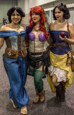 Steampunk Jasmine, steampunk Ariel and steampunk Snow White at Wondercon 2015