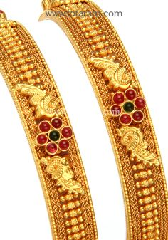 22K Fine Gold Bangles - Set of 2 (1 Pair) (Temple Jewellery): Totaram Jewelers: Buy Indian Gold jewelry & 18K Diamond jewelry