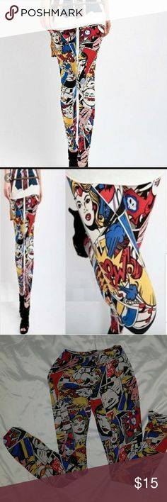 LynLey Marvel Comic Book Leggings Cute Marvel Leggings. Only wore once to try on.  Size Large Pants Leggings