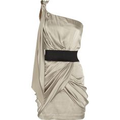 Champagne stretch-silk dress | Foley + Corinna One-shoulder stretch-silk mini dress - Polyvore