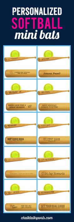 Our collection of Personalized Softball Bats make an unique gift for softball players and softball team gift! They are also a festive way to thank your guests for coming to your wedding, announcing your newest softball star's birth, or displaying your number and softball team name. Create a custom mini softball bat for any occasion at ChalkTalkSPORTS.com!
