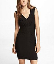 V-NECK RUCHED SHEATH DRESS- The perfect LBD