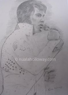 """Elvis '73"" by Nuala Holloway - Pencil on Paper (Commission) As featured in the music biography ""Elvis and Ireland"" by Ivor Casey - Available to buy now on Amazon #Elvis #ElvisandIreland #IrishArtist"
