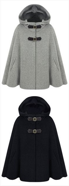 Women's Winter Wool Blend Hooded Cape Cloak Coat