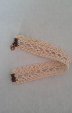 Bracelet au crochet façon dentelle en coton écru @ boutique-sylvie-créative : Bracelet par boutique-sylvie-creative