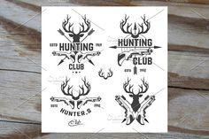 Vector set of vintage hunting emblem by ART69M on @creativemarket