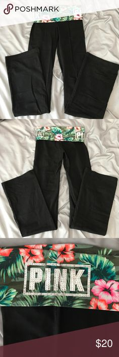 Black and hibiscus, palm tree, rhinestone yogas VSPink yoga pants. Fold over waistband with hibiscus flowers, palm leaf, and rhinestones. The silver/rhinestones pink are on both sides of hips. These are like New because I only wore them a few times. No tears or rips. Boot cut leg. PINK Victoria's Secret Pants Track Pants & Joggers