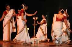 Thiruvathirakali is a classical dance form, which is a pointer to the old customs followed in the Nair tharawads (joint families). In this dance form, the women of the house dance elegantly around the ceremonial lamp or floral decoration on festive occasions to the accompaniment of the Thiruvathira pattu (song).