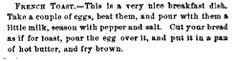 French Toast     Godeys magazine Volume 62-63 1861