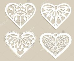 Set stencil lacy hearts with carved openwork pattern. Template for interior design, layouts wedding cards, invitations, etc. Image suitable for laser cutting, plotter cutting or printing. Vector - Buy this stock vector and explore similar vectors at Adobe Paper Cutting, Wedding Card Design, Wedding Cards, Teacher Thank You Cards, 3d Printing Diy, Laser Art, Silhouette Curio, Art Carved, Paper Hearts