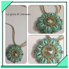 Aurora Pendant beaded by Carmen Russo. Thank you for sharing! Beaded Jewelry Designs, Jewelry Patterns, Beading Patterns, Beaded Crafts, Jewelry Crafts, Beaded Necklace, Beaded Bracelets, Necklaces, Super Duo Beads