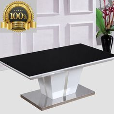 Unique Coffee Table Art Decor High Gloss Finish Glass Top Rectangle Furniture