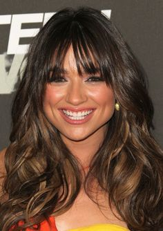 Long Hairstyle for Thick Hair with Wispy Bangs of Crystal Reed