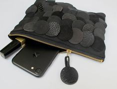 opulent clutch or toiletry bag for your small things like phone, keys and makeup etc. it is made of very soft alcantara (ultrasuede) that is hard to tell apart from real suede. Leather Bags Handmade, Handmade Bags, Leather Craft, Diy Wallet, Handmade Jewelry Bracelets, Embroidery Bags, Fur Bag, Boho Bags, Beautiful Handbags