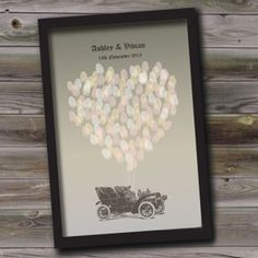 Vintage Car Fingerprint Balloons Personalised Wedding Guest Book Alternative
