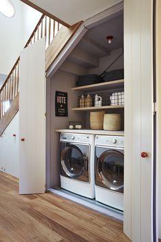 Tiny Laundry Rooms, Laundry Closet, Laundry Room Organization, Laundry Room Design, Organization Ideas, Laundry Drying, Mud Rooms, Laundry Nook, Bathroom Laundry Rooms