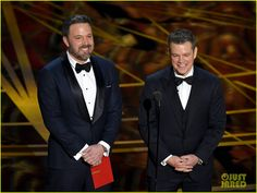 Ben Affleck & 'Guest' Matt Damon Present at Oscars 2017, Matt Gets Played Off by Jimmy Kimmel