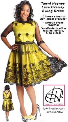 Tawni Haynes Lace Overlay Swing Dress shown with a yellow under-layer & black lace overlay, but available in other fabrics & colors! Shop online @ http://shop.tawnihaynes.com/product-p/lc-ovrly-swng-drss.htm or call 972-754-5096!  Choose your desired dress length, & sheer or non-sheer sleeves. Available in petite, standard, and plus sizes.
