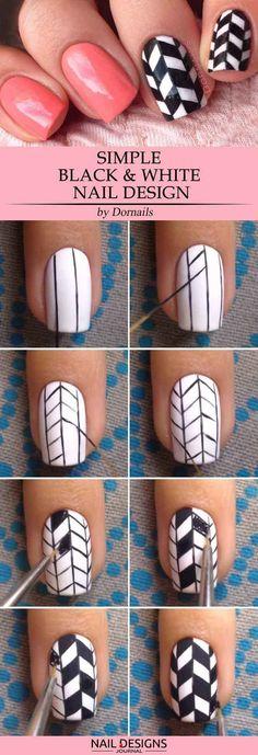 15 Super Easy Nail Designs DIY Tutorials: #14. Simple Black & White Nail Design; #nailart; #naildesign; #nailtutorial