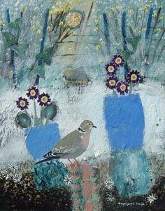 Snowy Garden Colared Dove. Mixed Media. 21x27cms. Ingeborg Smith. £360 Sweet Magic, Wildlife Paintings, Artist Profile, Mark Making, Art Journal Inspiration, Winter Wonderland, Followers, Mixed Media, Boards