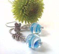 Butterfly Dance Spiral Lampwork Earrings by PinkCupcakeJC on Etsy,