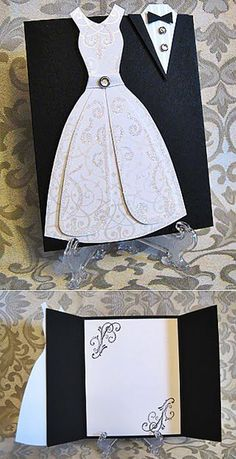 Wedding Card, Mr and Mrs, Bride and Groom Congratulations Card, Tuxedo - Wedding Gown Card, to my daughter on her wedding day Wedding Shower Cards, Wedding Invitation Cards, Unique Cards, Creative Cards, Wedding Badges, Homemade Birthday Cards, Wedding Cards Handmade, Dress Card, Bday Cards
