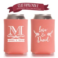 Personalized Monogrammed Can Cooler, Monogram Wedding Favors, Initials Party Gifts Anniversary Party