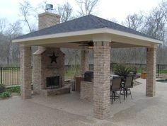 detached patios  | Detached covered patio with custom outdoor fireplace - Outdoor ...