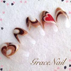 チョコカラーハートプッチ / GraceNail (GraceNail) のネイル - ネイルクルー