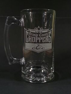 Just a sample, hand etched mug with OCC logo on it, just showing some different types of etching we do everything we etch is done by hand one piece at at time in the USA Engraved Beer Mugs, Logo, Usa, Tableware, Logos, Dinnerware, Tablewares, Dishes, Place Settings