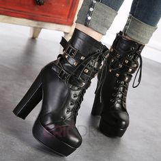Women's Buckle Rivert Studded Punk Platform Block High Heel Lace Up Gothic Shoes Studded Ankle Boots, Buckle Ankle Boots, Ankle Shoes, Platform Ankle Boots, Lace Up Ankle Boots, Platform High Heels, High Heel Boots, Shoe Boots, Women's Shoes