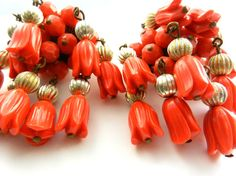 Vintage Red Floral Bead Dangle Cha Cha clip back by RAKcreations, $46.00
