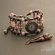Часы браслет из агата Клубничный восторг Beaded Watches, Bracelet Watch, Band, Bracelets, Beading, Accessories, Crafts, Fashion, Clock
