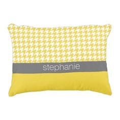 Yellow and Gray Houndstooth Pattern Custom Name Accent Pillow