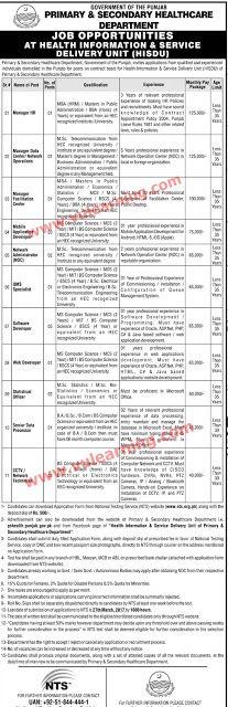 Punjab P&S Healthcare Department jobs Before 27.03.2017