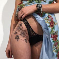 Sexy hip tattoo naked