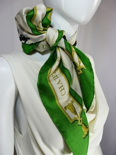 Authentic Vintage Hermes Scarf Le Bois De Boulogne Kelly Green RARE 0624643783