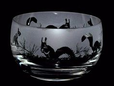Squirrel Frieze  large Crystal Glass Bowl with a Squirrel design * Check this awesome product by going to the link at the image.