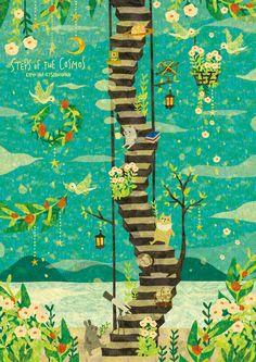STEPS OF THE COSMOS 宇宙への階段。 休み休み、のんびりゆっくり、のぼっていこう。 By Megumi Inoue. http://sorahana.ciao.jp/