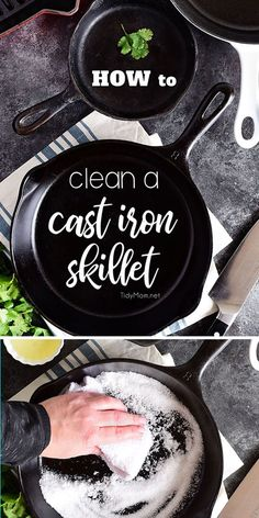 Do you have a cast iron pan tucked away in your darkest cabinet because you're not sure how to clean a cast iron skillet? The care and keeping of this versatile workhorse isn't that difficult. The best thing is, properly seasoned and maintained cast iron Deep Cleaning Tips, House Cleaning Tips, Spring Cleaning, Cleaning Hacks, Cleaning Cast Iron Pans, Iron Skillet Cleaning, Diy Hacks, Tablet Recipe, Clean Baking Pans