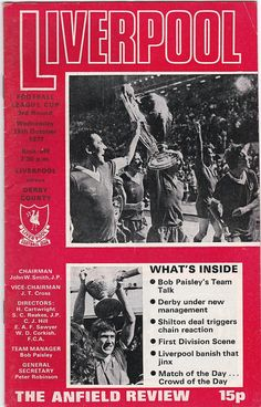 Vintage Football Programme - Liverpool v Derby County, League Cup, 1977/78 season #soccer #football #liverpool
