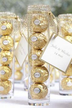 Edible wedding favors from Ferrero Rocher. Edible wedding favors from Ferrero Rocher. Edible wedding favors from Ferrero R. Creative Wedding Favors, Inexpensive Wedding Favors, Elegant Wedding Favors, Edible Wedding Favors, Wedding Favors For Guests, Personalized Wedding Favors, Bridal Shower Favors, Wedding Gifts, Handmade Wedding