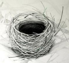 Travel Journal-Art Diary-Eclectic Design Book-Inspirational Art -drawing of a birds nest