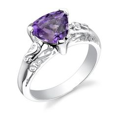 1.50 carats Trillion Cut Amethyst Ring in Sterling Silver Rhodium Finish Size 5 to 9 Peora,