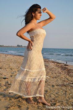 Ivory Lace and Net Bohemian Wedding Dress by SuzannaMDesigns
